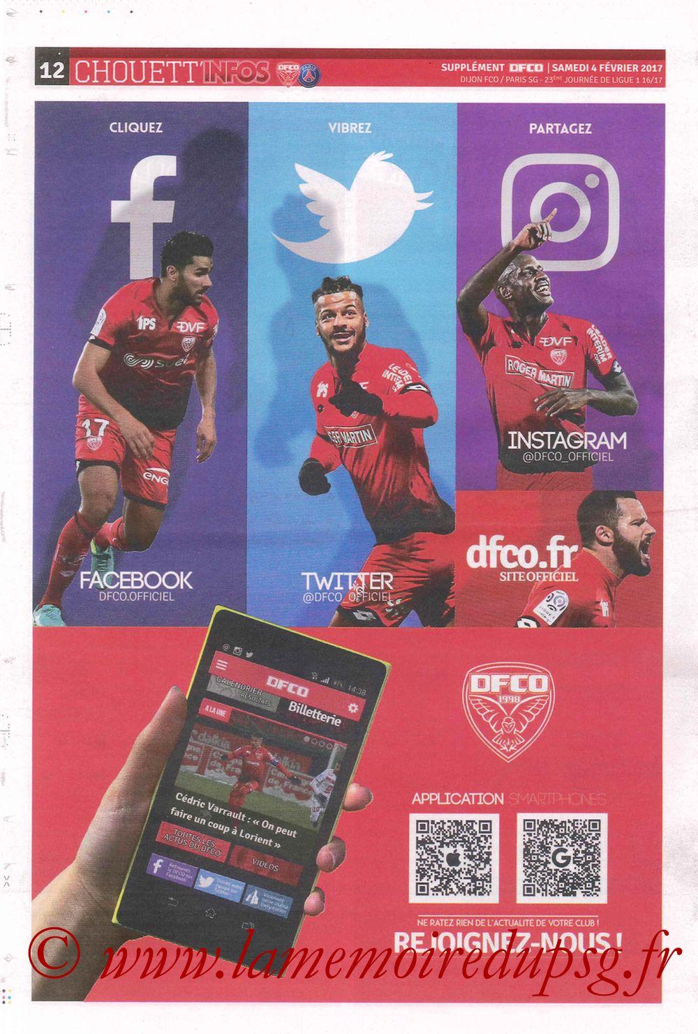 2017-02-04  Dijon-PSG (23ème L1, Chouett' Info N°12) - Page 12