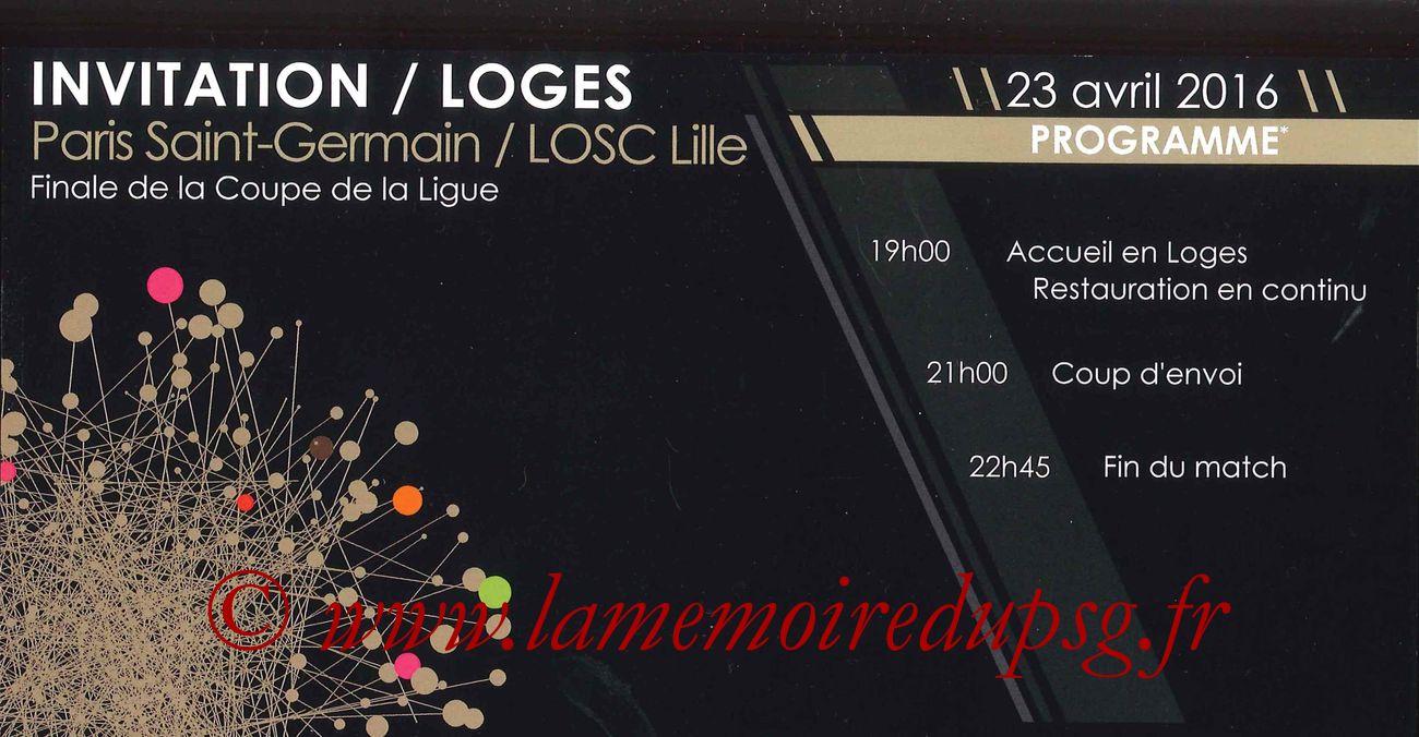2016-04-23  PSG-Lille (Finale CL à Saint-Denis, Programme Loges)