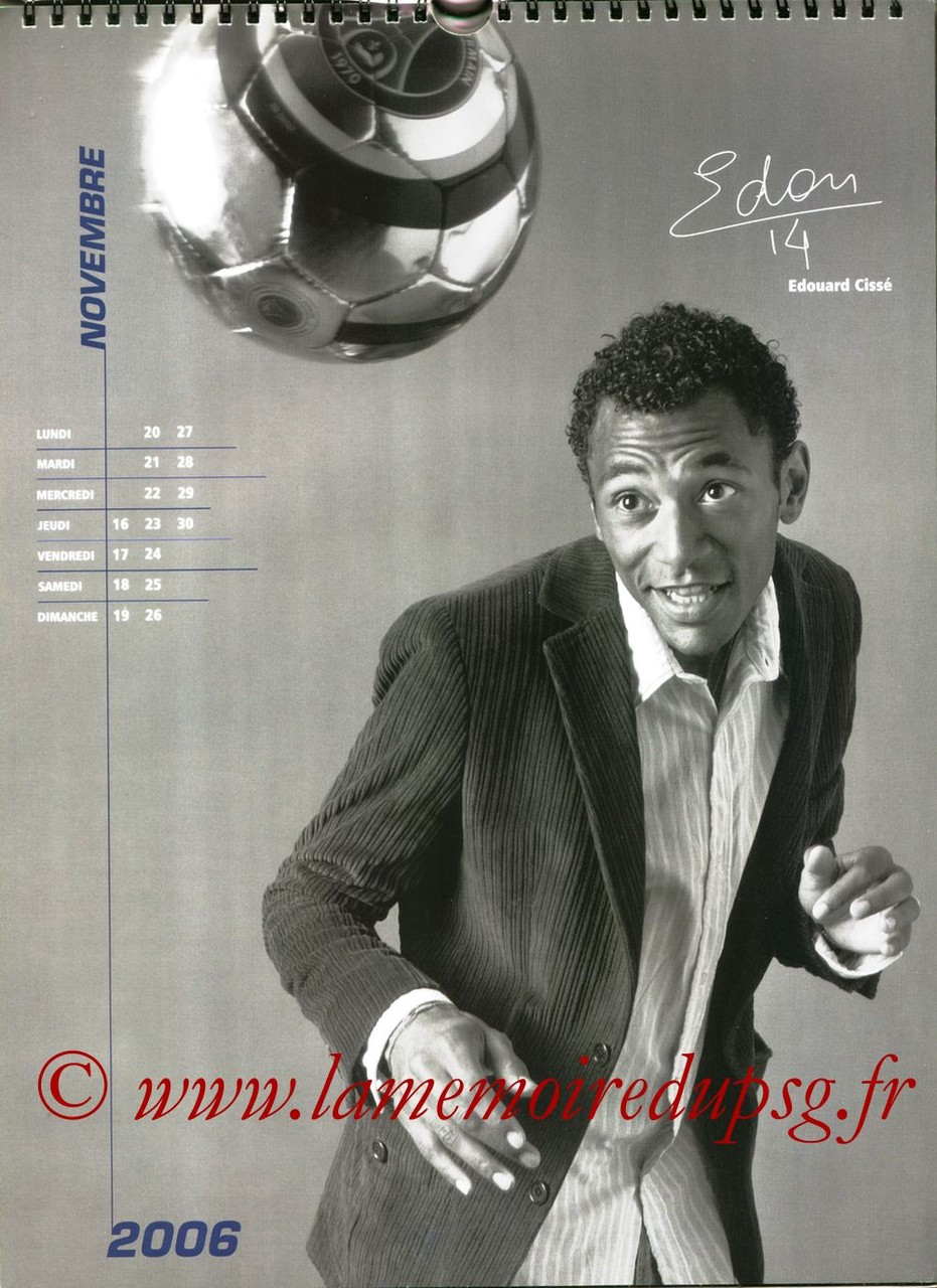 Calendrier PSG 2006 - Page 22 - Edouard CISSE