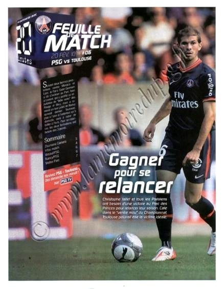 2010-02-20  PSG-Toulouse (25ème L1, Feuille de match N°6)