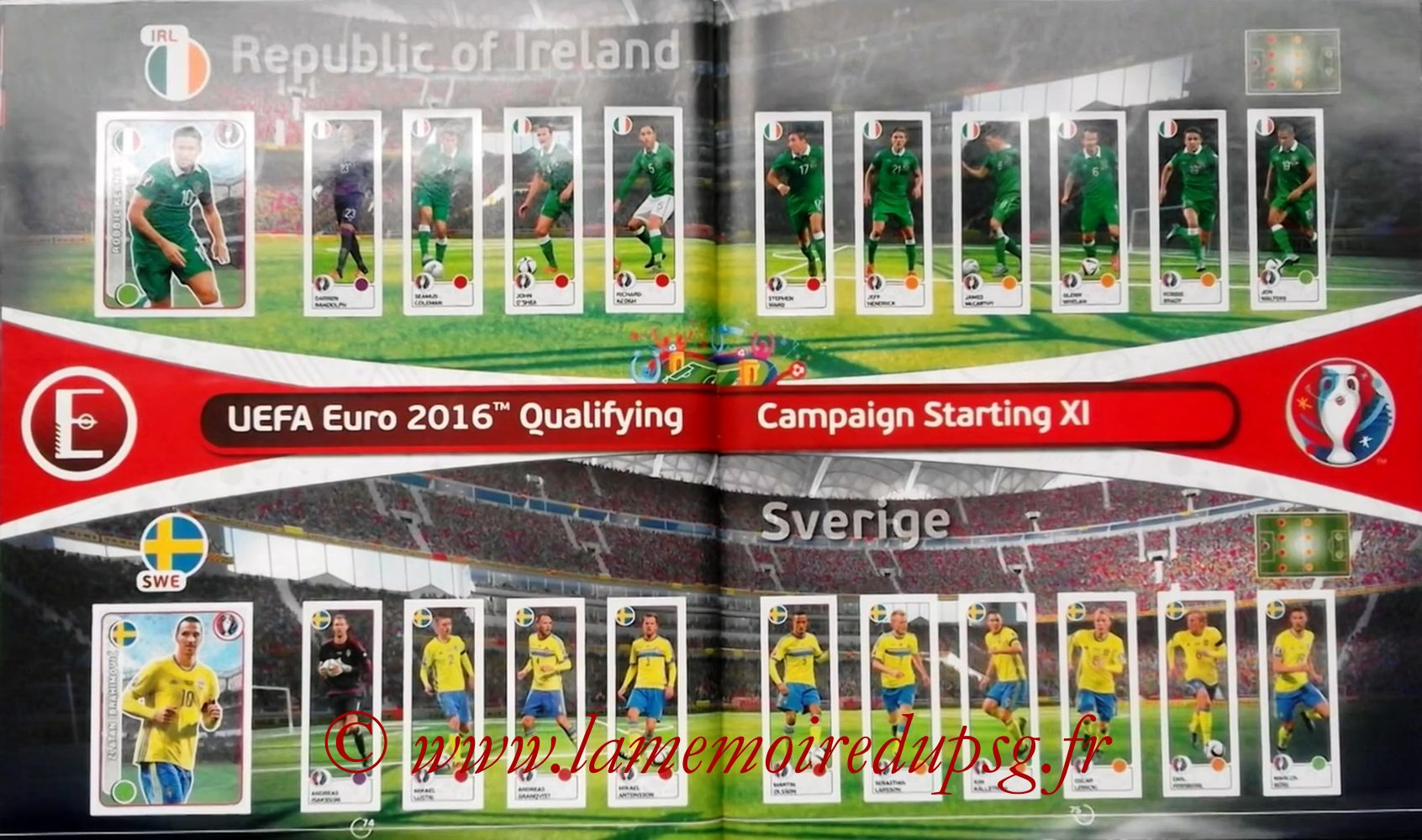 Panini Euro 2016 Stickers - Pages 74 et 75 - République d'Irlande et Suède