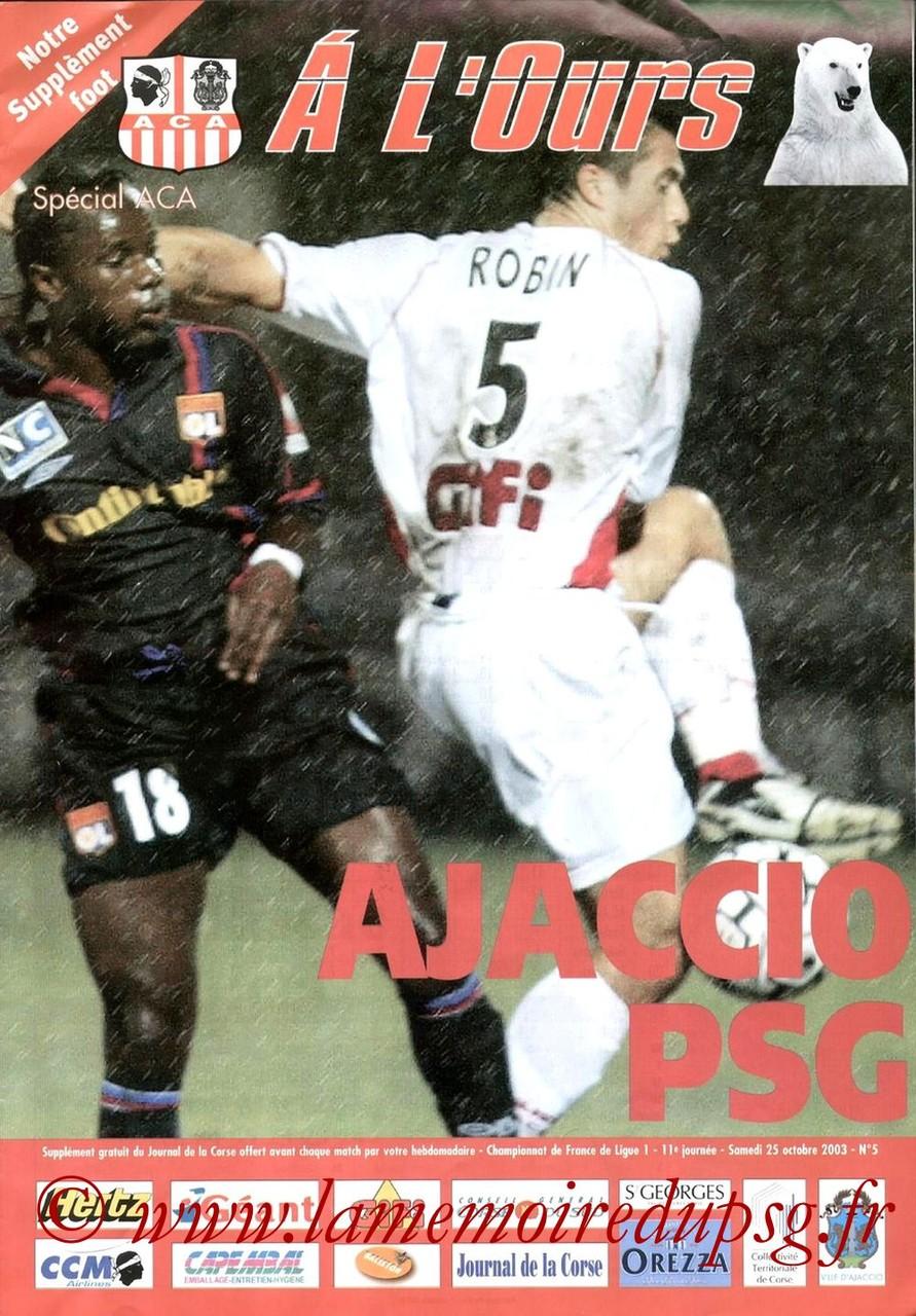 2003-10-25  Ajaccio-PSG (11ème L1, A l'ours N°5)