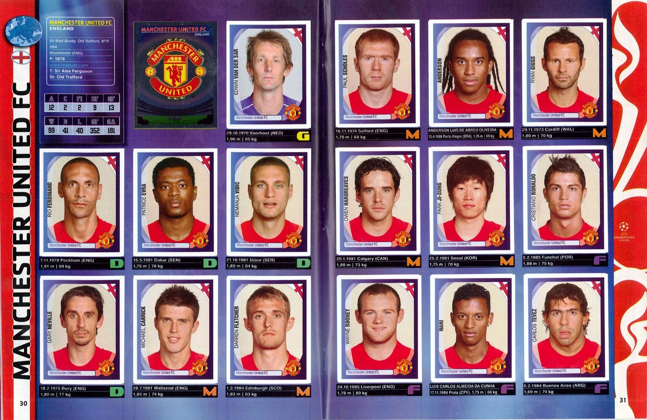 2007-08 - Panini Champions League - Pages 30 et 31 - Manchester United FC