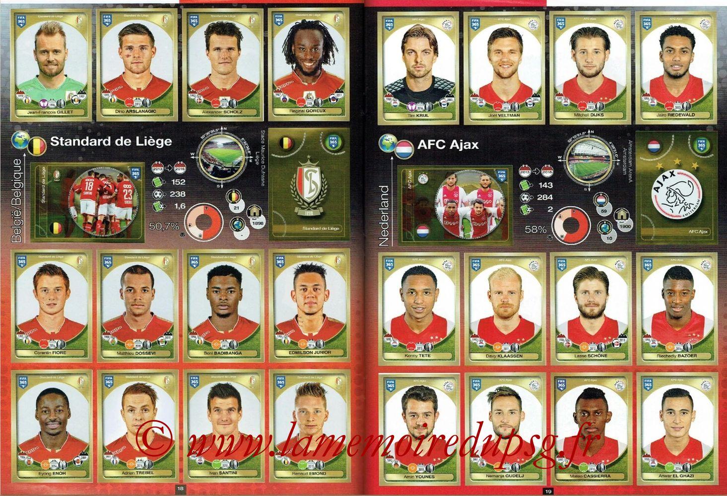 2016-17 - Panini FIFA 365 Stickers - Pages 18 et 19 - Standard de Liege + AFC Ajax
