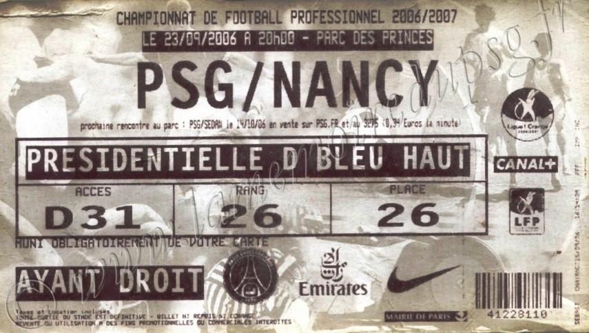 2006-09-23  PSG-Nancy (7ème L1, ter)