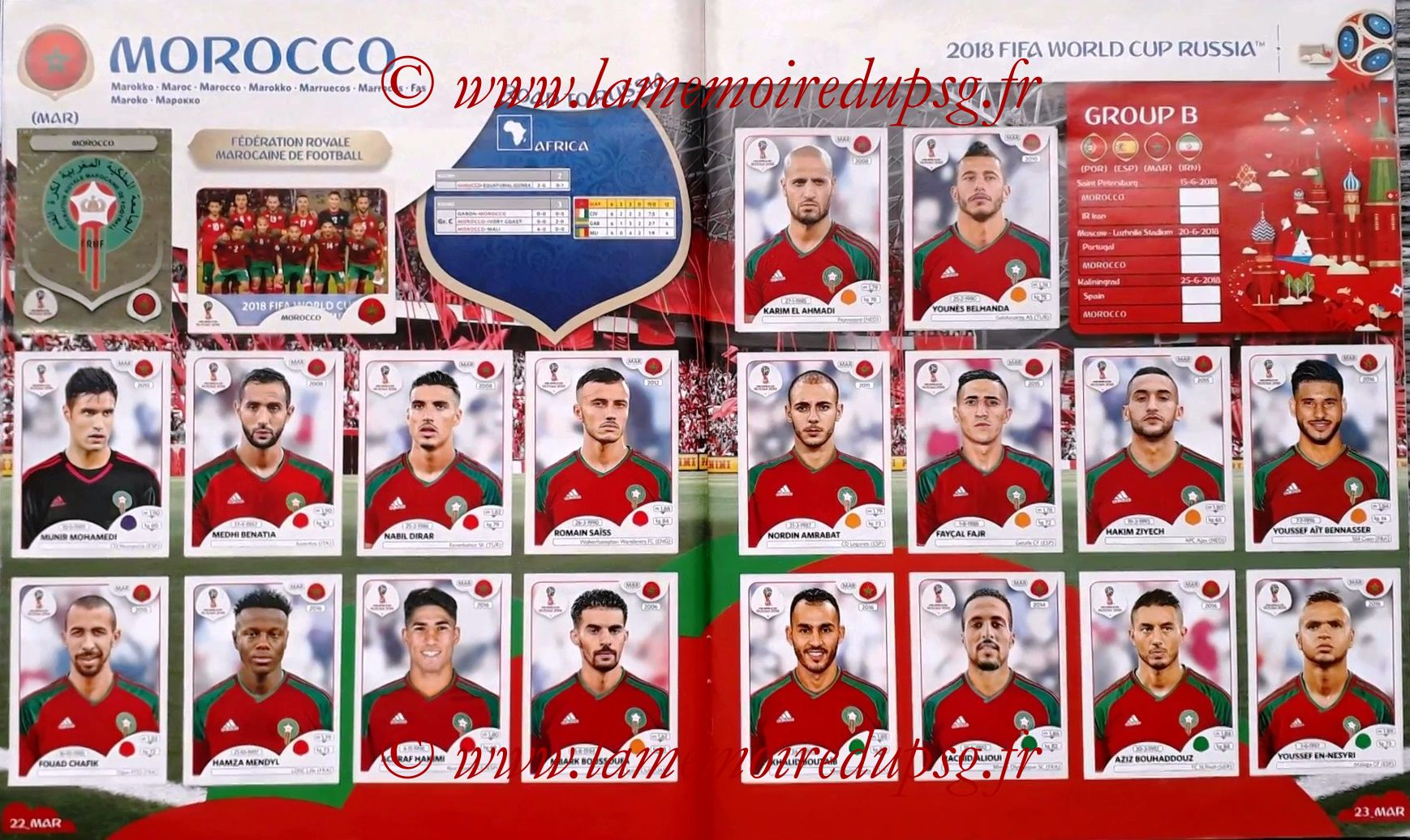 2018 - Panini FIFA World Cup Russia Stickers - Pages 22 et 23 - Maroc