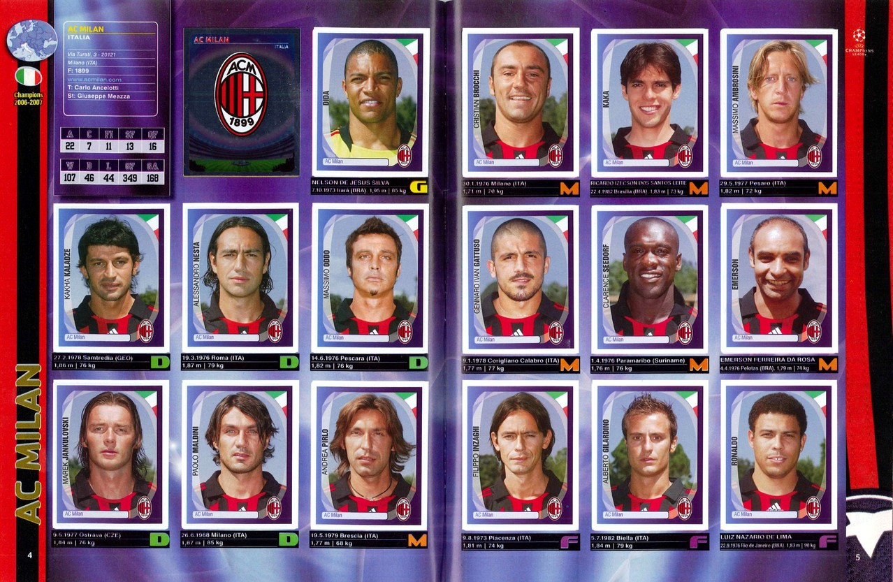 2007-08 - Panini Champions League - Pages 04 et 05 - Milan AC
