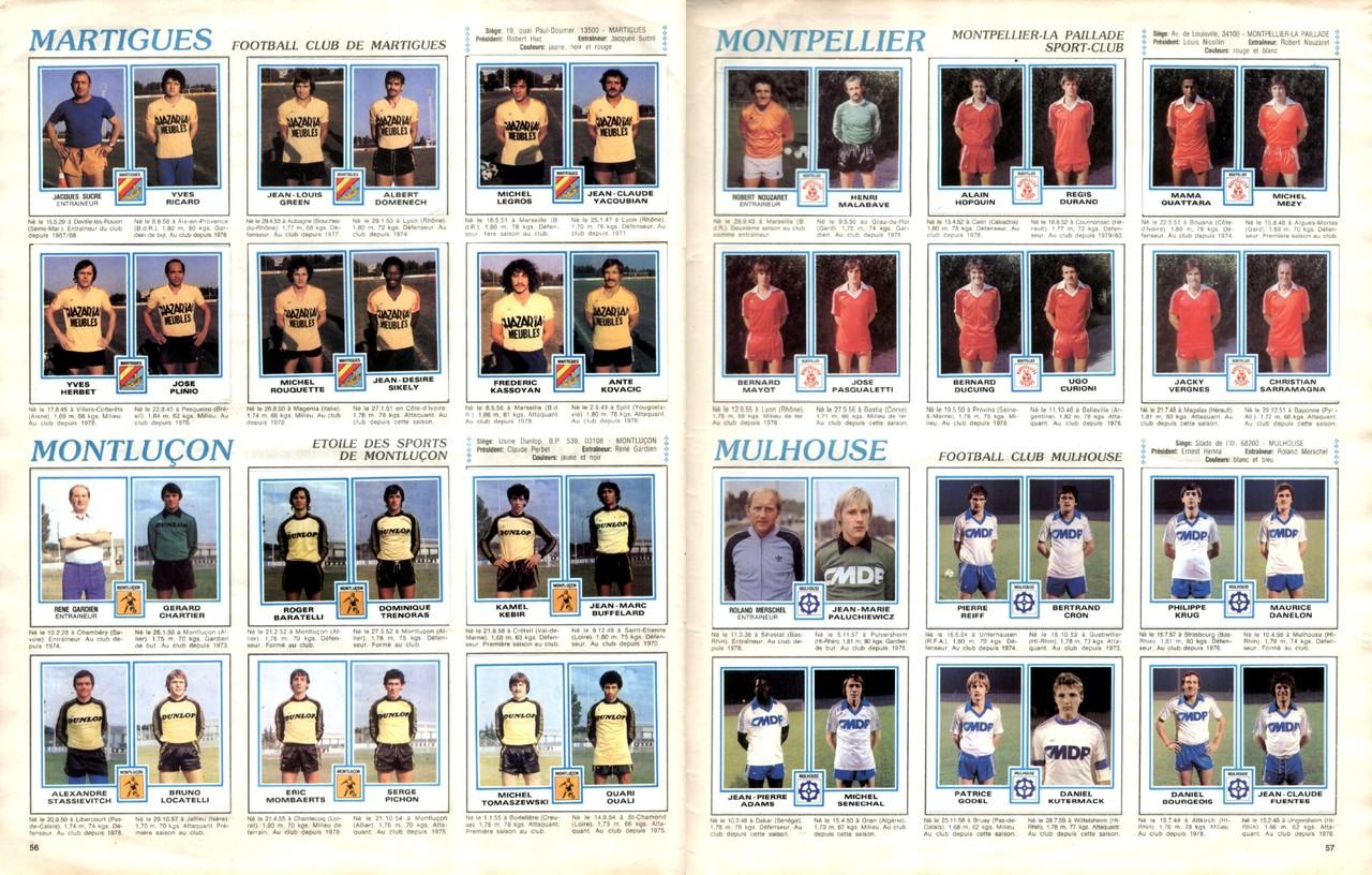 1979-80 - Panini 1980 - Pages 56 et 57 - FC Martigues et ES Montluçon + Montpellier HSC et FC Mulhouse