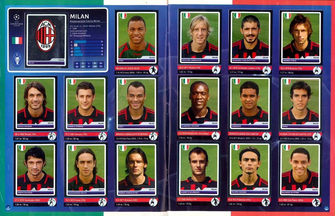 2006-07 - Panini Champions League - Pages 16 et 17 - Milan AC
