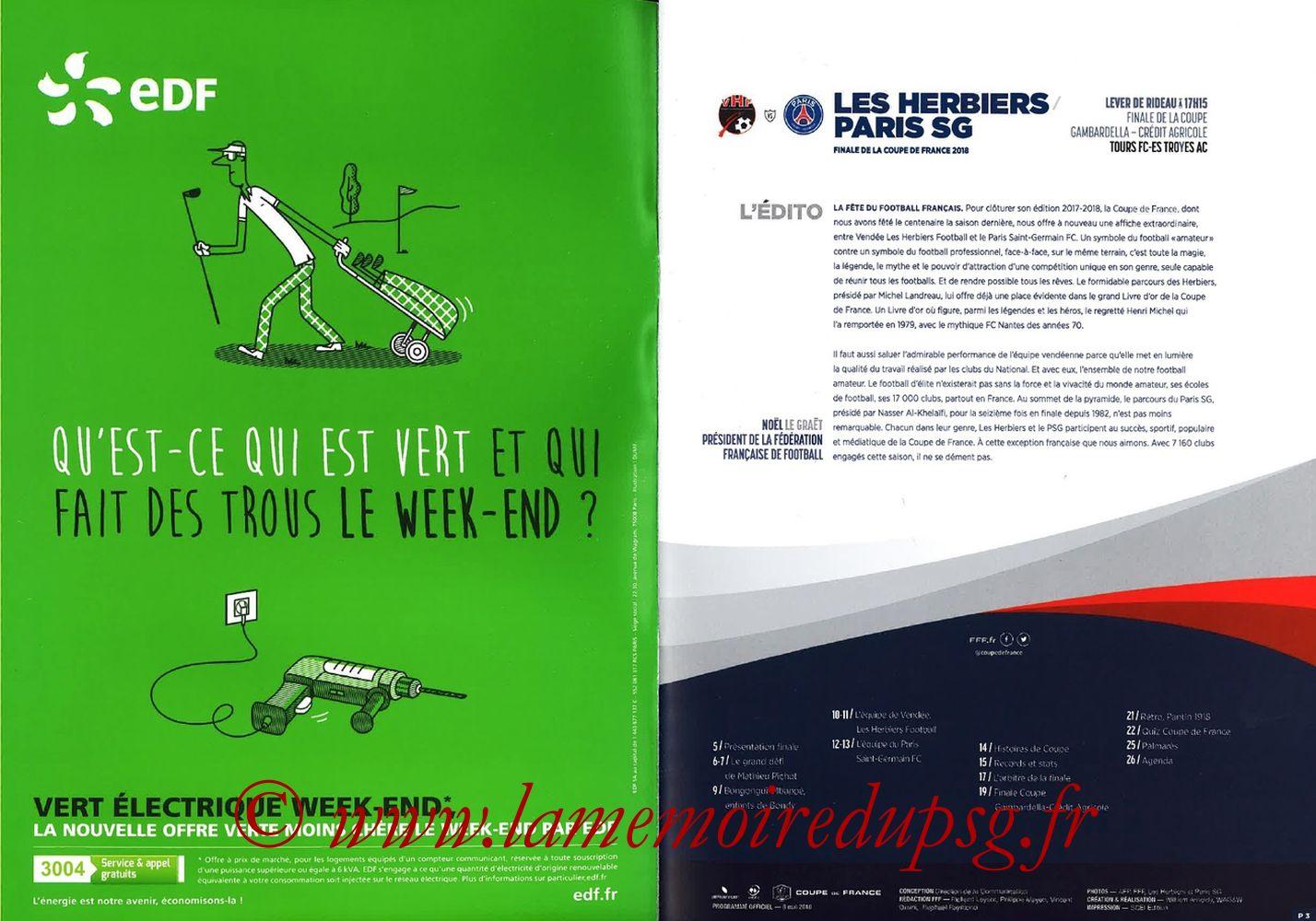 2018-05-08  Les Herbiers-PSG (Finale CF à Saint-Denis, Programme officiel FFF) - Pages 02 et 03