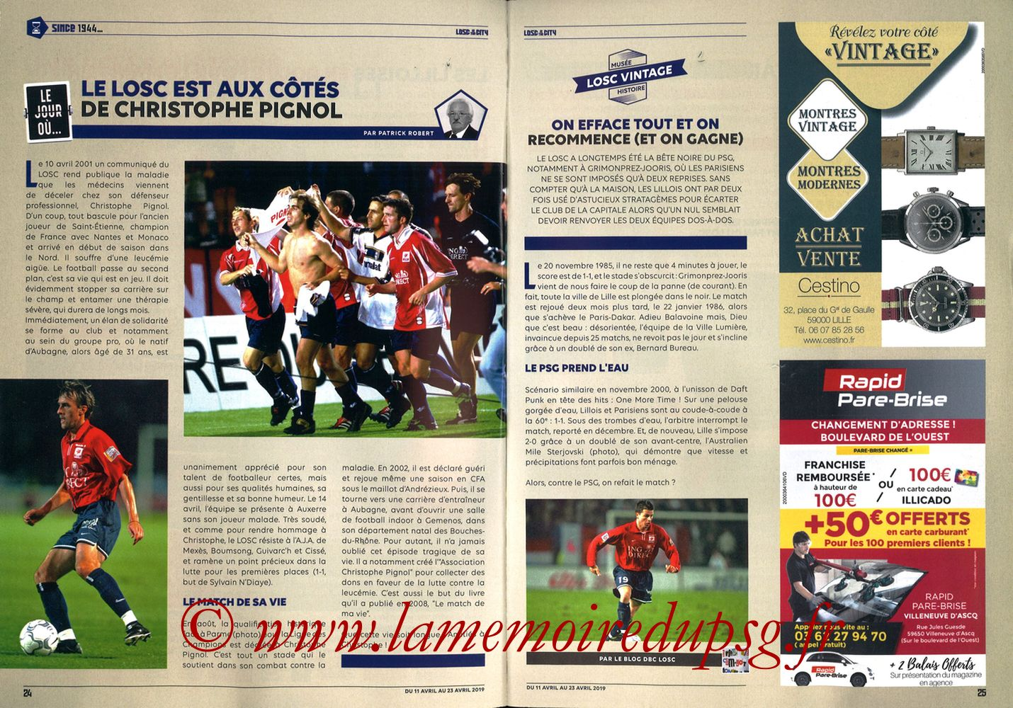 2019-04-14  Lille-PSG (32ème L1, LOSC In the City N° 28) - Pages 24 et 25