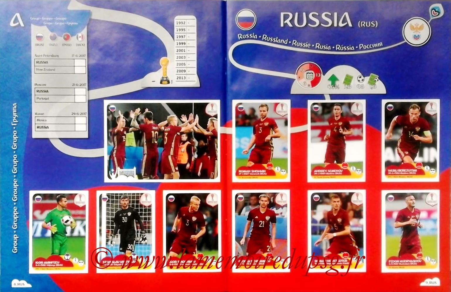 2017 - Panini Confederations Cup Russia Stickers - Pages 08 et 09 - Russie