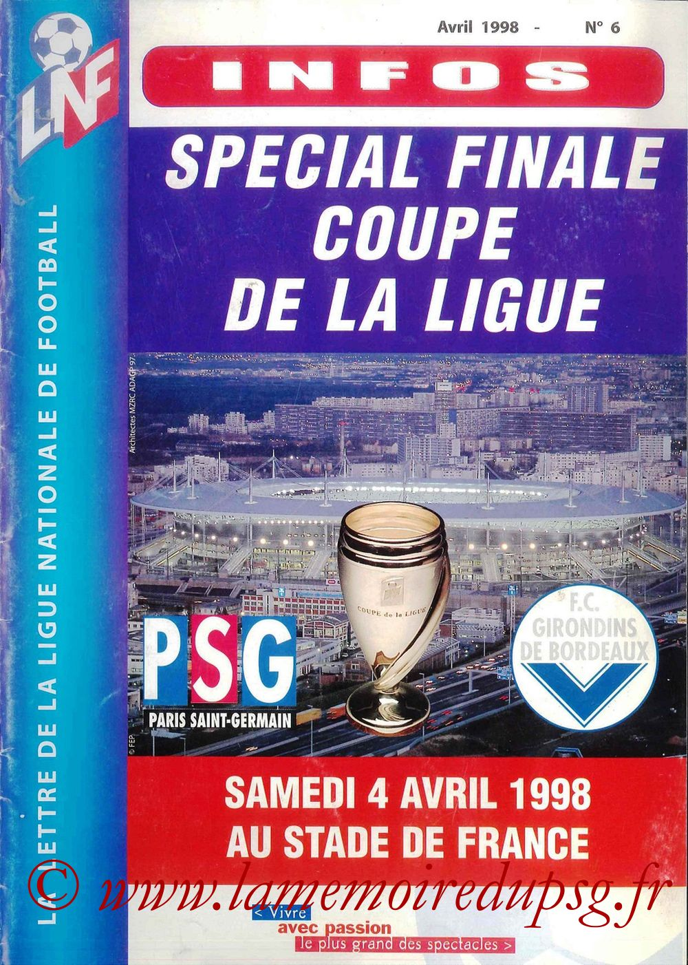 1998-04-04  PSG-Bordeaux (Finale CL à Saint-Denis, Programme officiel LNF)