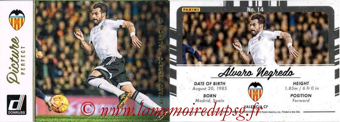 2016 - Panini Donruss Cards - N° PP14 - Alvaro NEGREDO (FC Valence) (Picture Perfect)