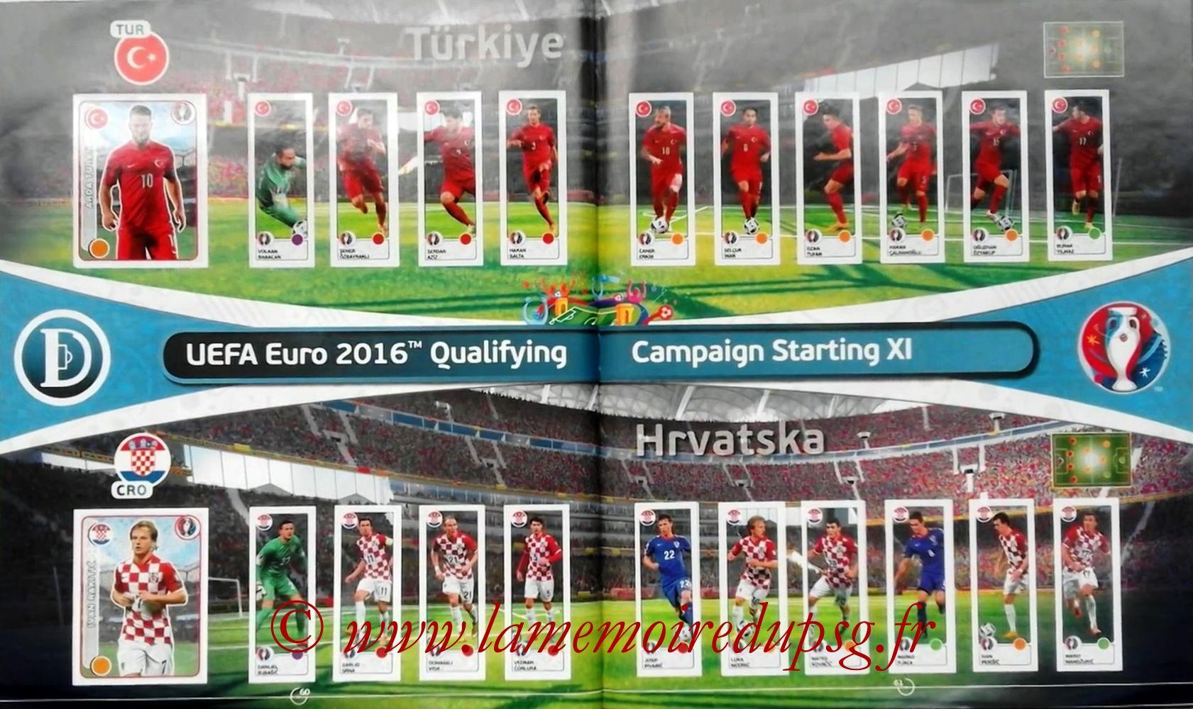 Panini Euro 2016 Stickers - Pages 60 et 61 - Turquie et Croatie