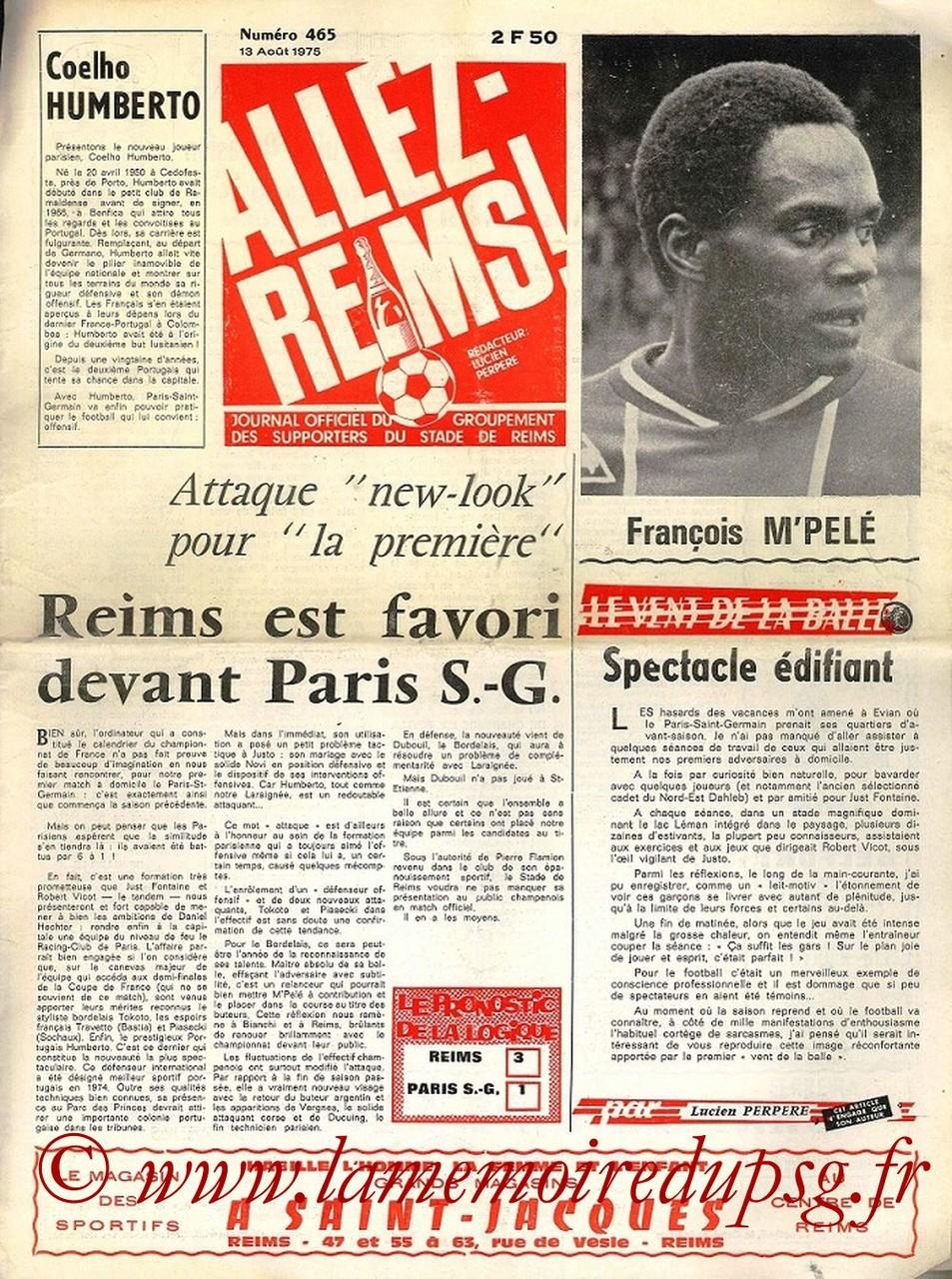 1975-08-13  Reim-PSG (2ème D1, Allez Reims N°465)