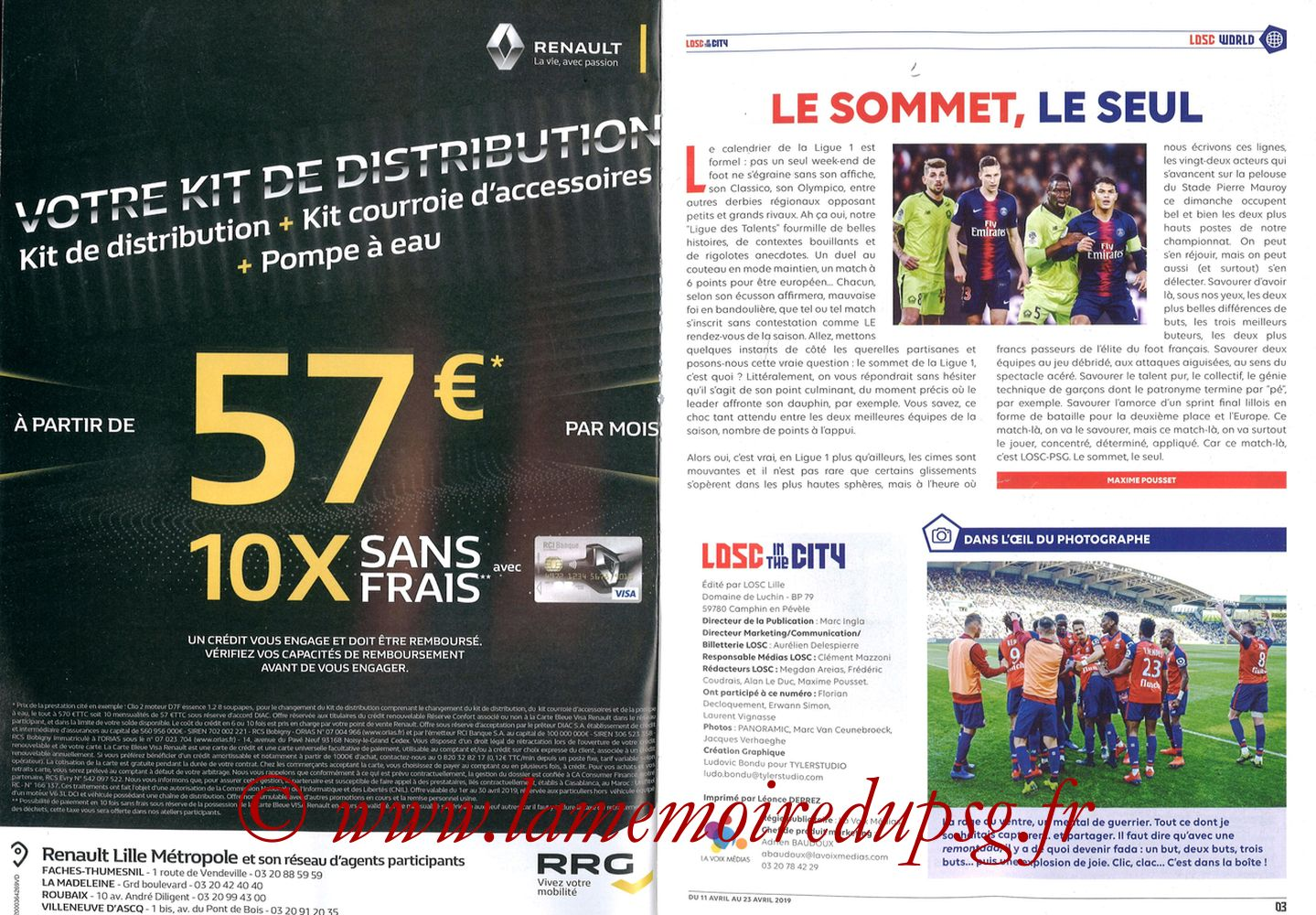 2019-04-14  Lille-PSG (32ème L1, LOSC In the City N° 28) - Pages 02 et 03