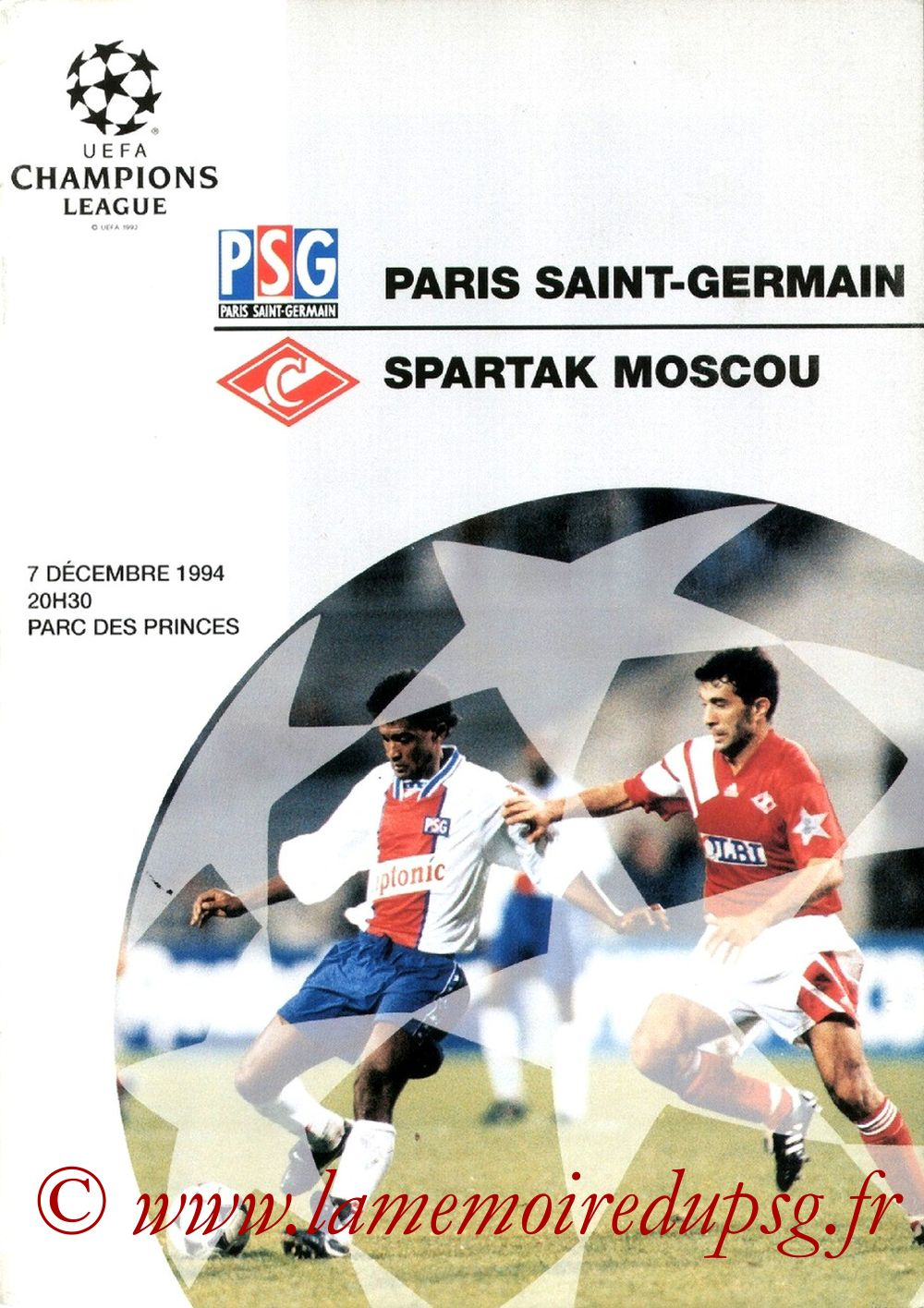 1994-12-07  PSG-Spartak Moscou (6ème Poule C1, Officiel UEFA)