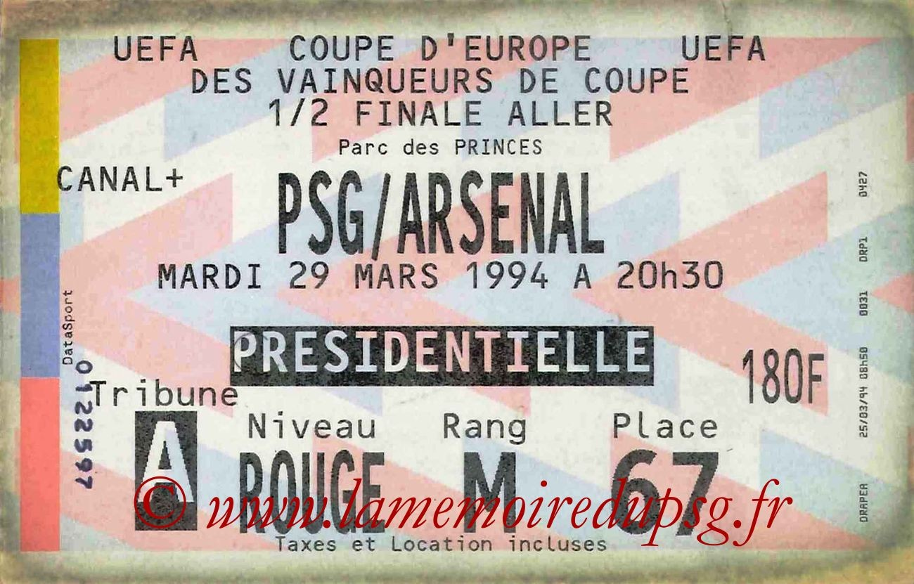 1994-03-29  PSG-Arsenal (Demi-Finale Aller C2,bis)