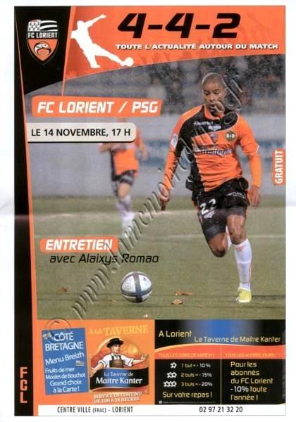 2010-11-14  Lorient-PSG (13ème L1, 4-4-2)