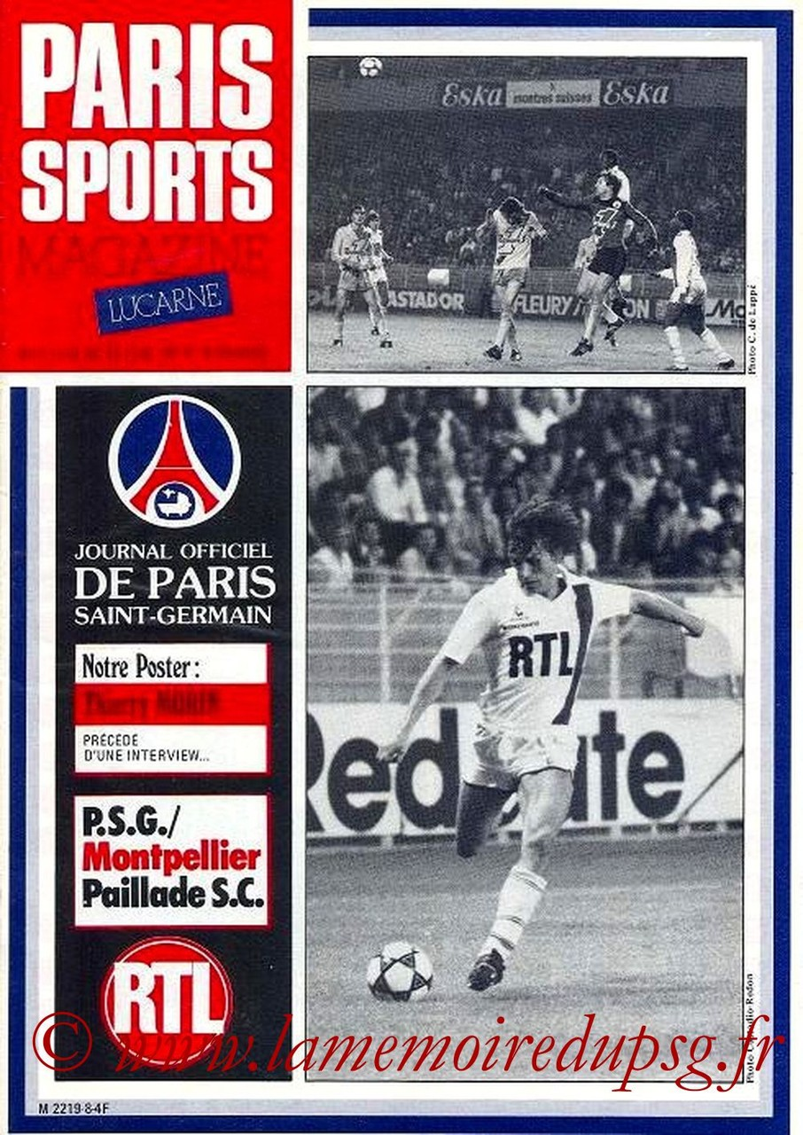 1981-11-17  PSG-Montpellier (17ème D1, Paris Sports Magazine N°8)