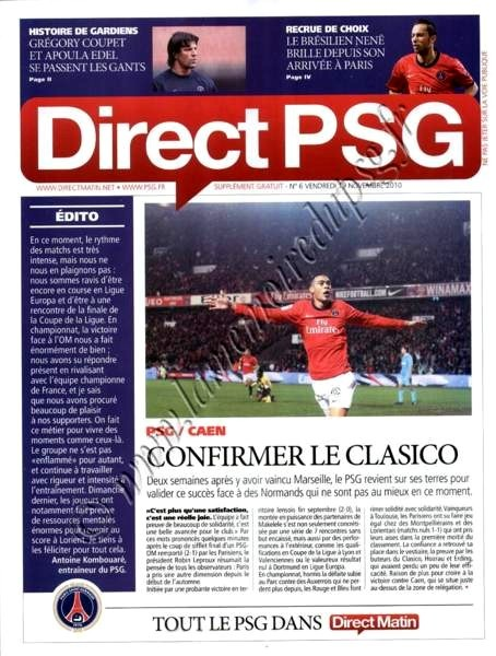 2010-11-20  PSG-Caen (14ème L1, Direct PSG N°6)