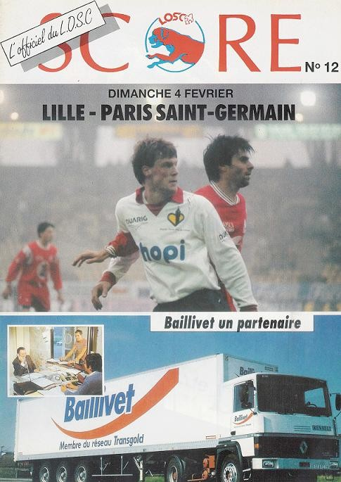 1990-02-04  Lille-PSG (24ème D1, Score N°12, Collection LG)