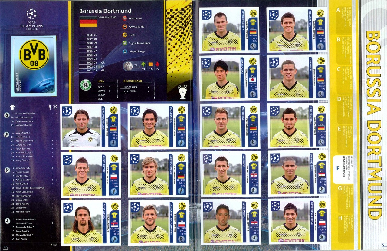 2011-12 - Panini Champions League - Pages 50 et 51 - Borussia Dortmund