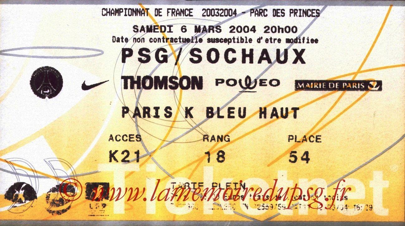 2004-03-06   PSG-Sochaux (27ème L1, Ticketnet)