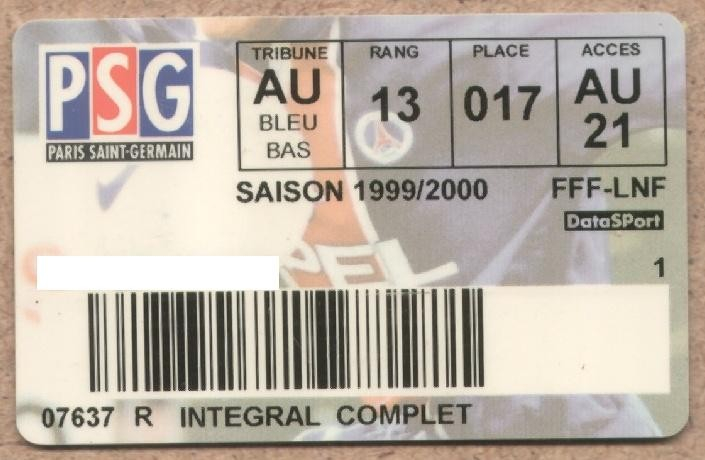 Carte d'abonné PSG 1999-00