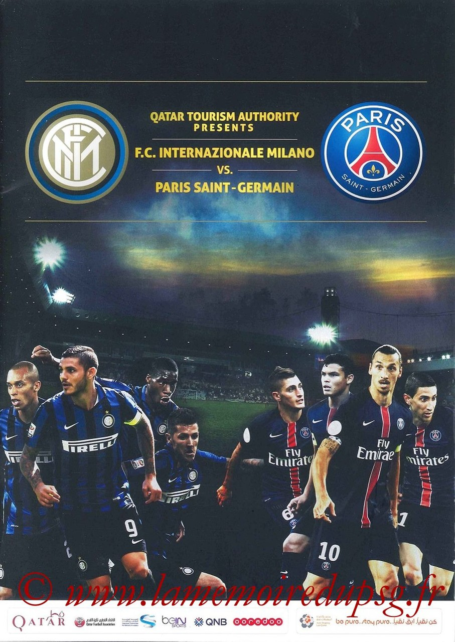 2015-12-30  Inter Milan-PSG (Amical à Doha, Programme officiel)