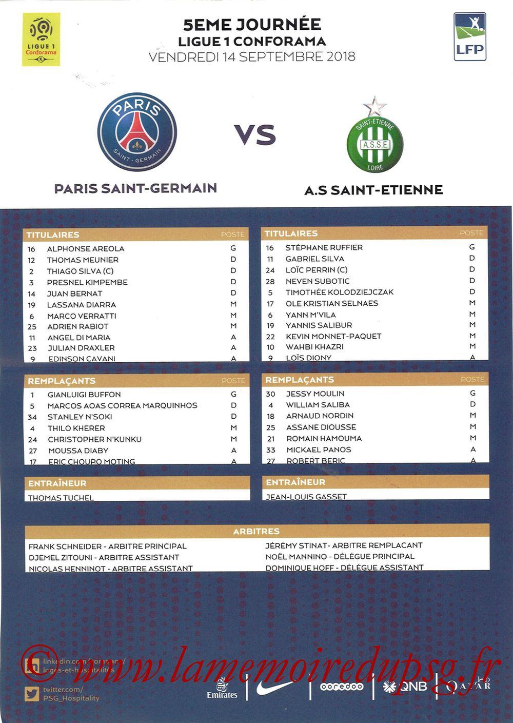2018-09-17  PSG-Saint Etienne (5ème L1, Feuille de match)