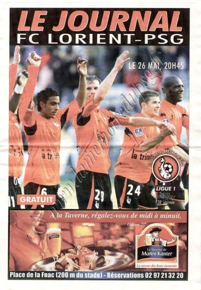 2007-05-26  Lorient-PSG (38ème L1, Le Journal)