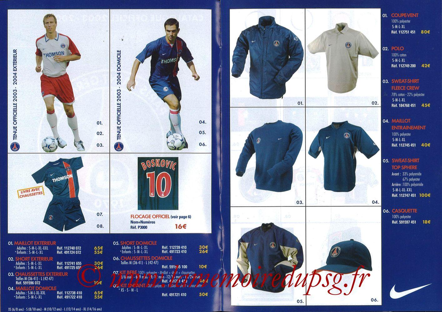 Catalogue PSG - 2003-04 - Pages 02 et 03