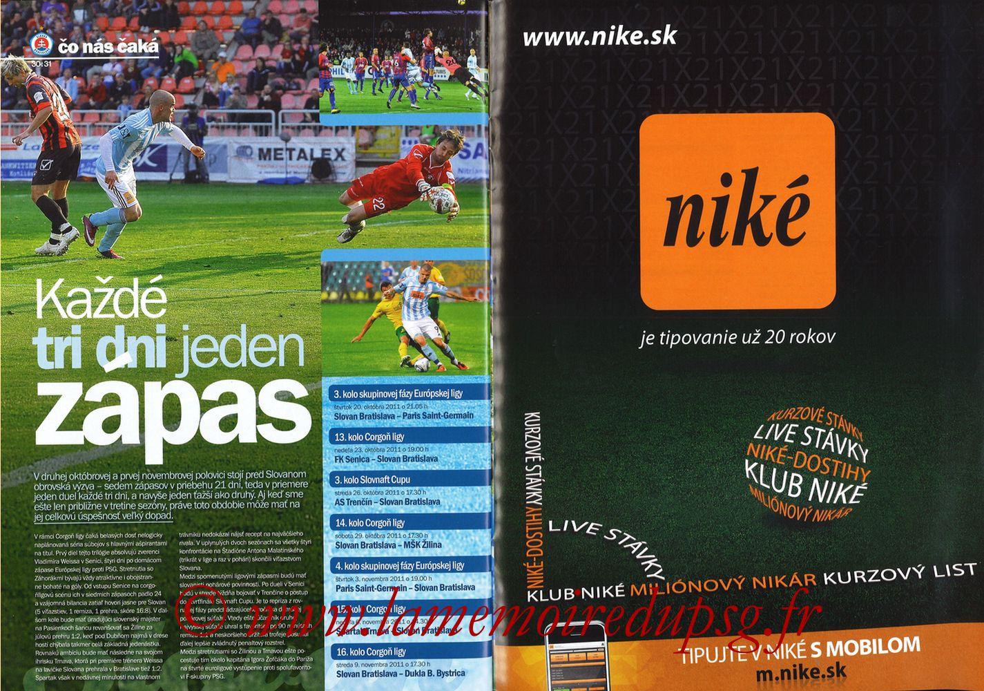 2011-10-20  Slovan Bratislava-PSG (3ème C3, Slovan N°4) - Pages 30 et 31