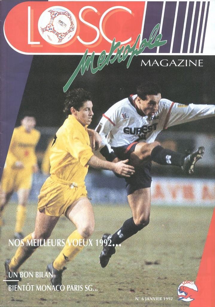 1992-02-08  Lille-PSG (28ème D1, Losc Magazine N°6)