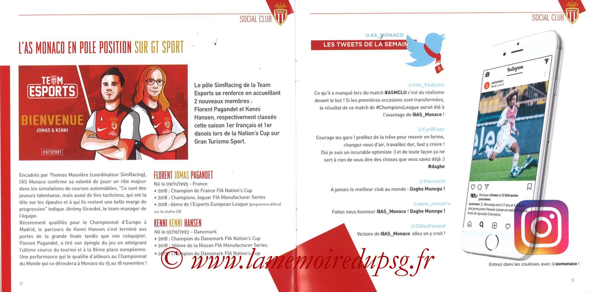2018-11-11  Monaco-PSG (13ème L1, Programme officiel) - Pages 12 et 13