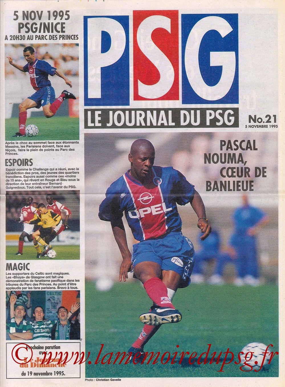 1995-11-05  PSG-Nice (16ème D1, Le journal du PSG N°21)