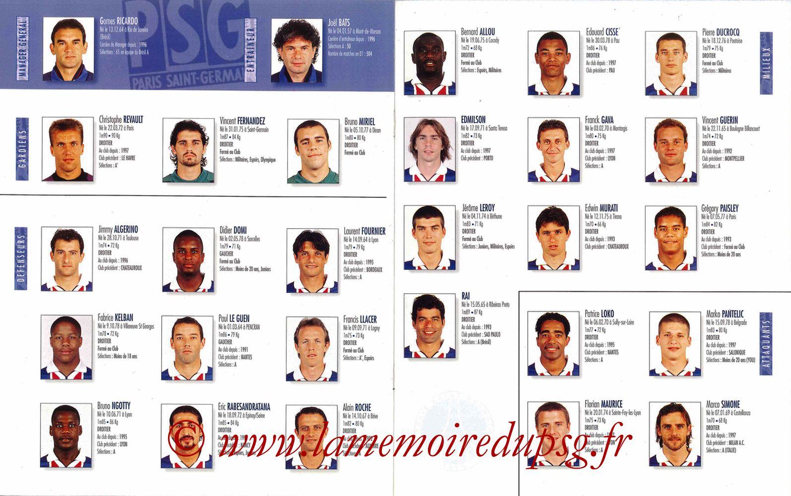 1997-98 - Guide de la Saison PSG - Pages 16 et 17