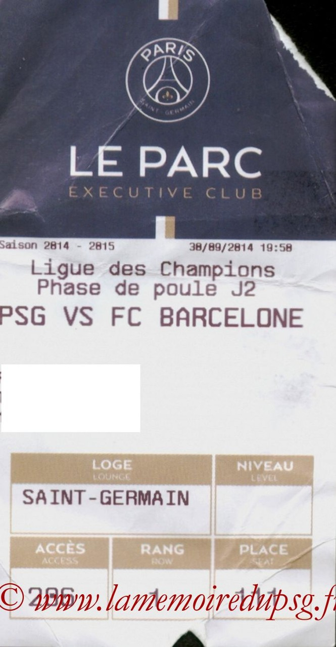2014-09-30  PSG-Barcelone (2ème Poule C1, Executive club, E-ticket)