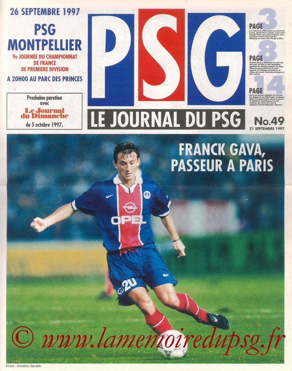 1997-09-26  PSG-Montpellier (9ème D1, Le Journal du PSG N°49)