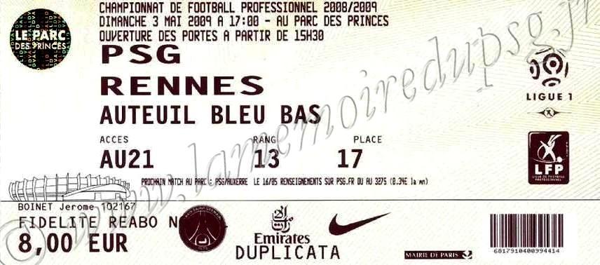 2009-05-03  PSG-Rennes (34ème L1)