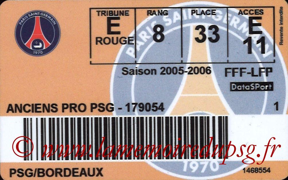 2006-04-02  PSG-Bordeaux (33ème L1, Carte ancien joueur)