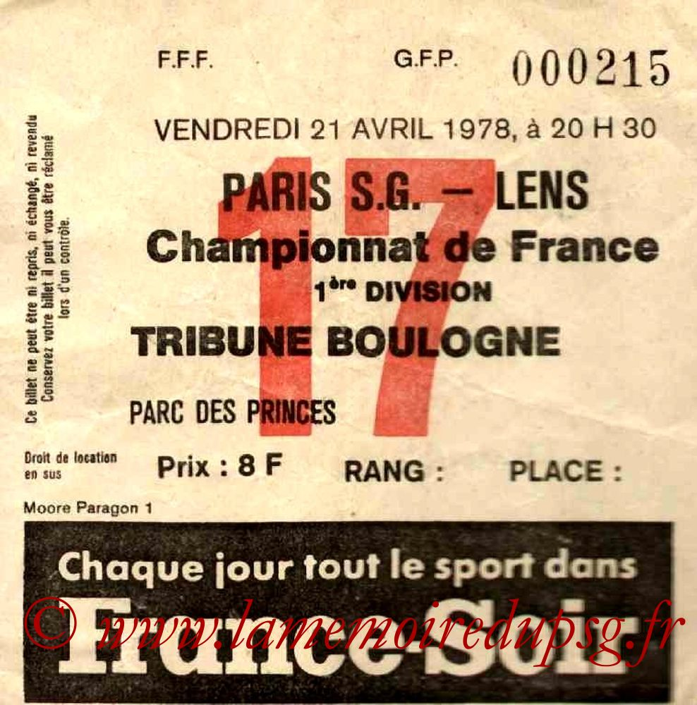 1978-04-21  PSG-Lens (35ème D1, Ticket N°17)