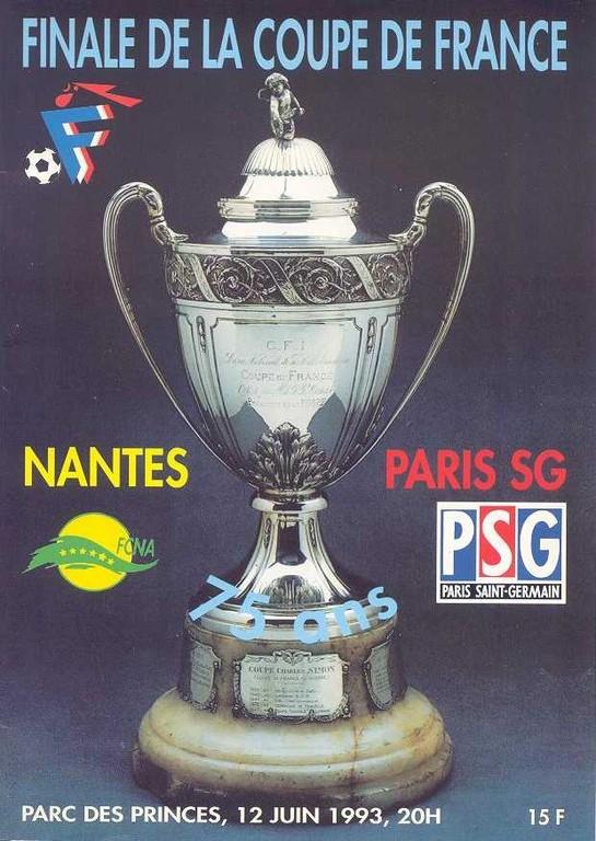 1993-06-12  PSG-Nantes (Finale CF au Parc des Princes, Programme officiel FFF)