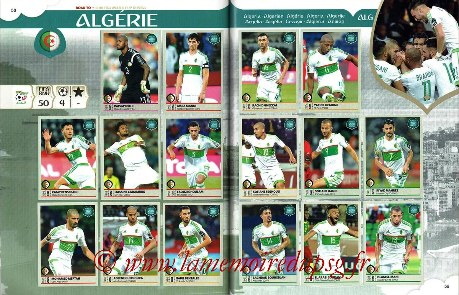 2018 - Panini Road to FIFA World Cup Russia Stickers - Pages 58 et 59 - Algérie