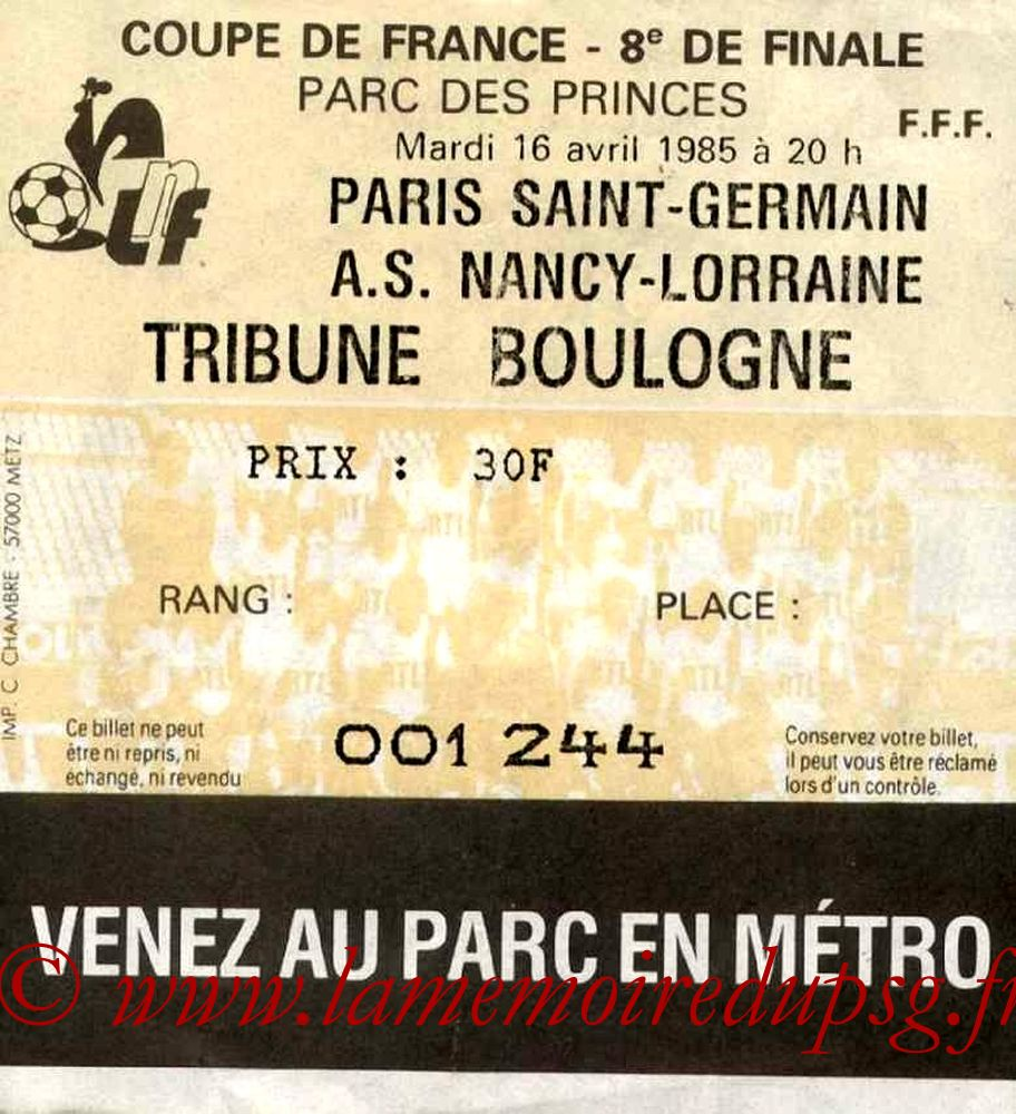 1985-04-16  PSG-Nancy (8ème Finale Retour CF)bis