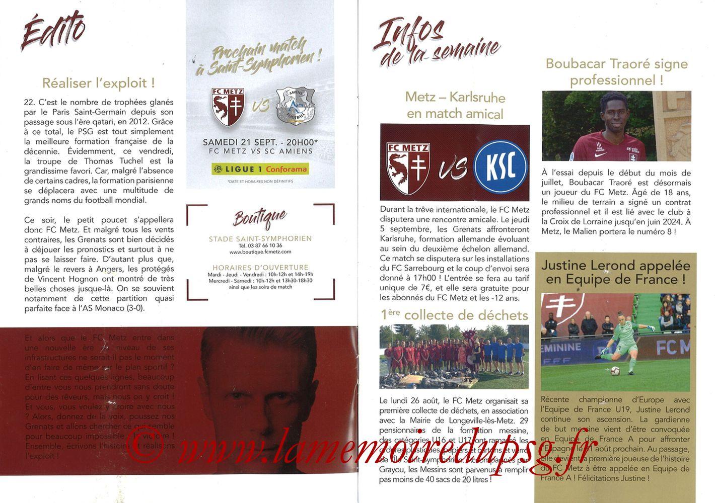 2019-08-30  Metz-PSG (4ème L1, La Gazette de Saint-Symph') - Pages 02 et 03