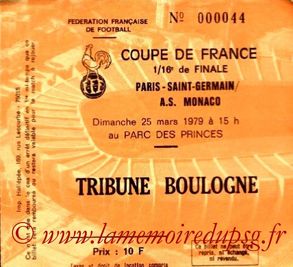 Ticket  PSG-Monaco  1978-79