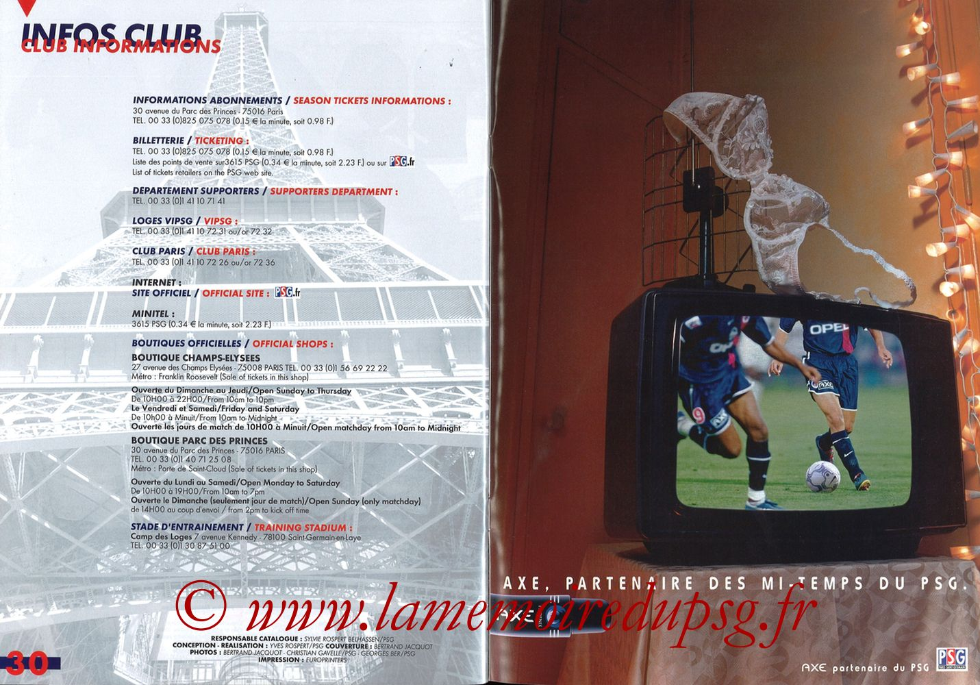 Catalogue PSG - 2001-02 - Pages 30 et 31